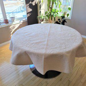 Williams-Sonoma Beige Round 100% Cotton Tablecloth